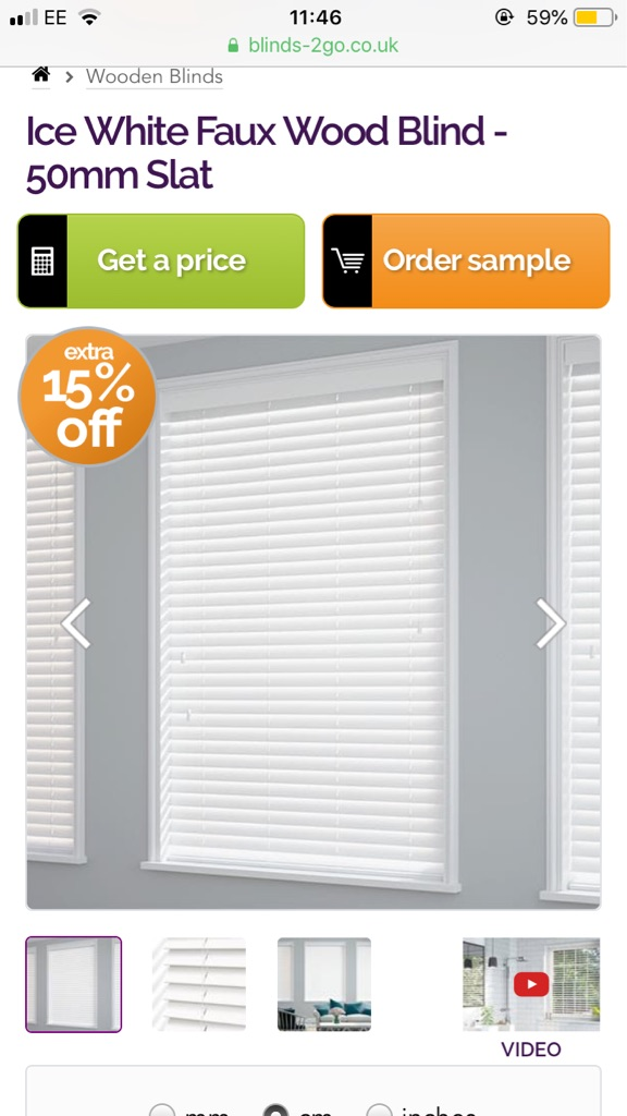 Brand new ice white faux wood blinds