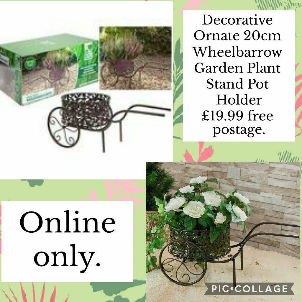 🌹🌼Decorative Ornate 20cm Wheelbarrow Garden Plant Stand Pot Holder £19.99 🚛Free postage.