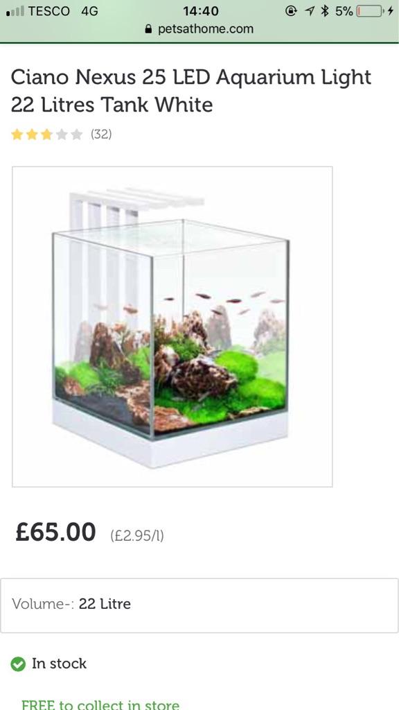 Ciano nexus 22 litre fish tank