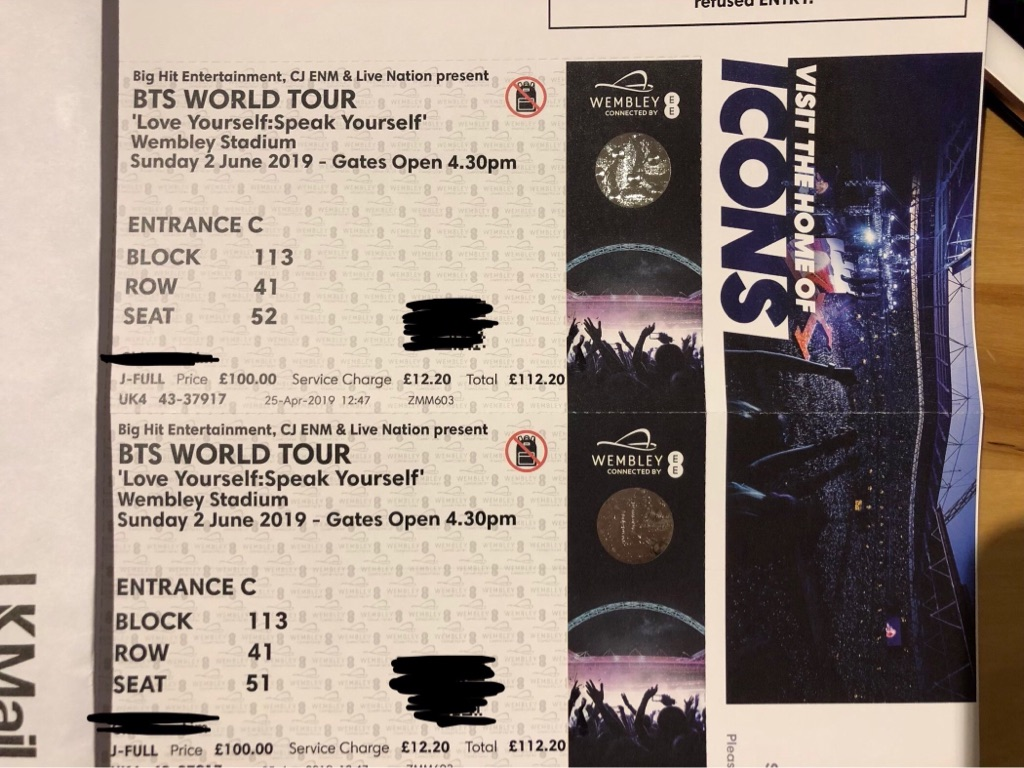 BTS x2 seated tickets 2 June Wembley Stadium