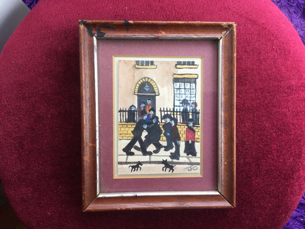 After L S Lowry watercolour painting of a street H6in W5in