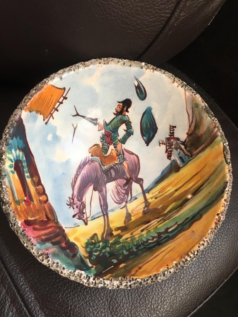 Antique don queixote enamel bowl