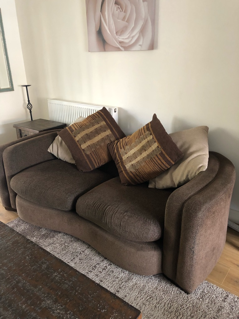 Black/ brown 2 and 3 seater sofas