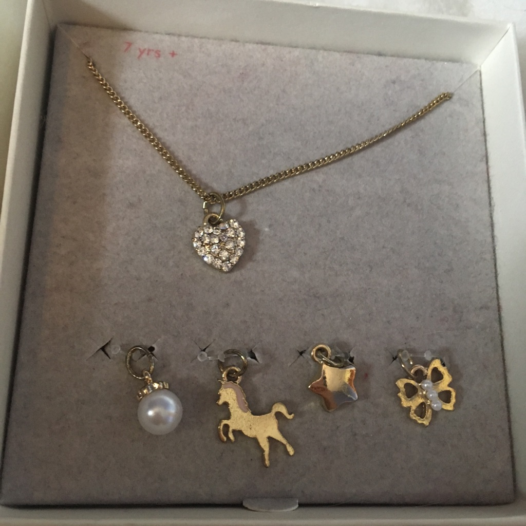 Beautiful little girls necklace and four brand new pendants