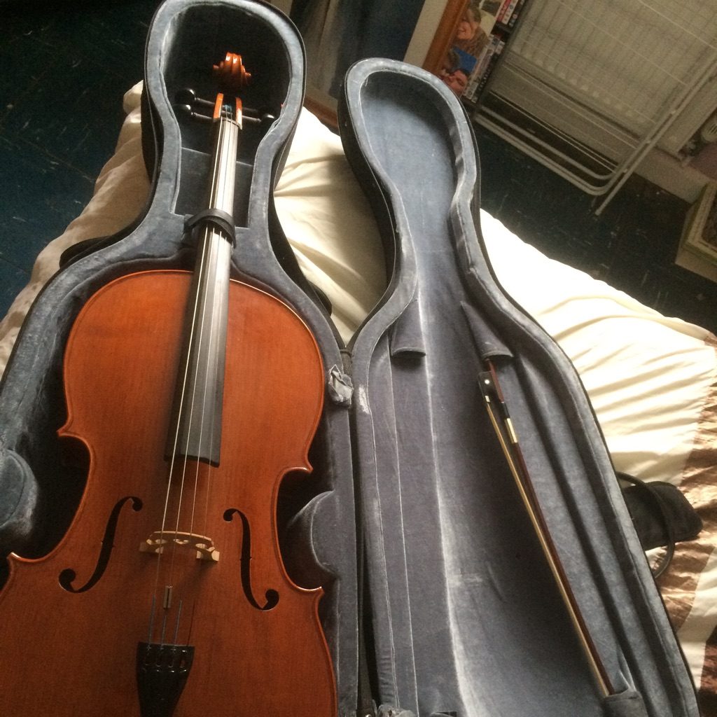 Cello - including hard case, bow and music books