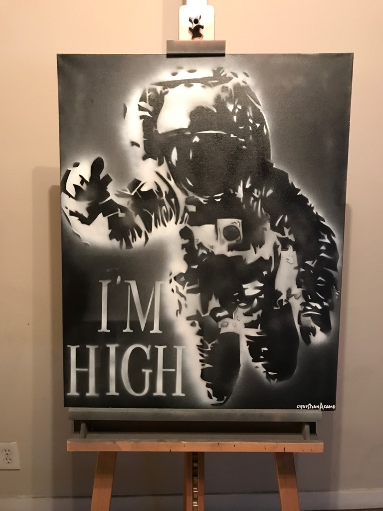 """i'M High"" Spaceman 24x30 Graffiti Canvas"