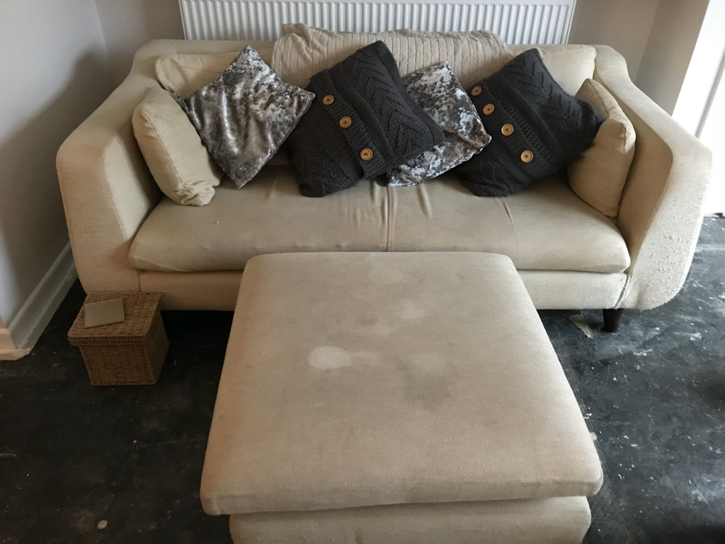 #FREE# cream sofa and large foot rest