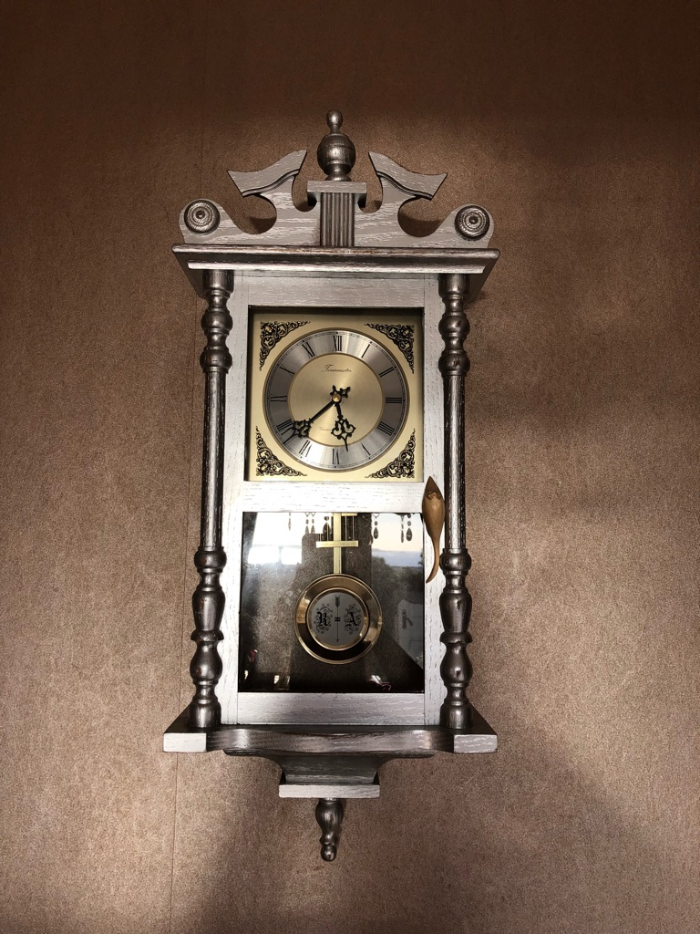 Vintage Upcycled silver chime wall clock