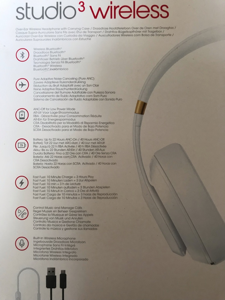 Beats Studio3 wireless noise cancelling headphones white and gold