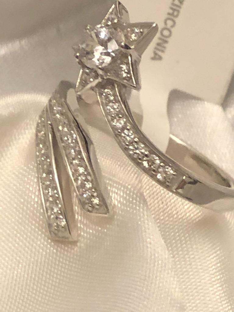 Ring Size M N Q Shooting star Swarovski zirconia sterling silver 925 platinum overlay