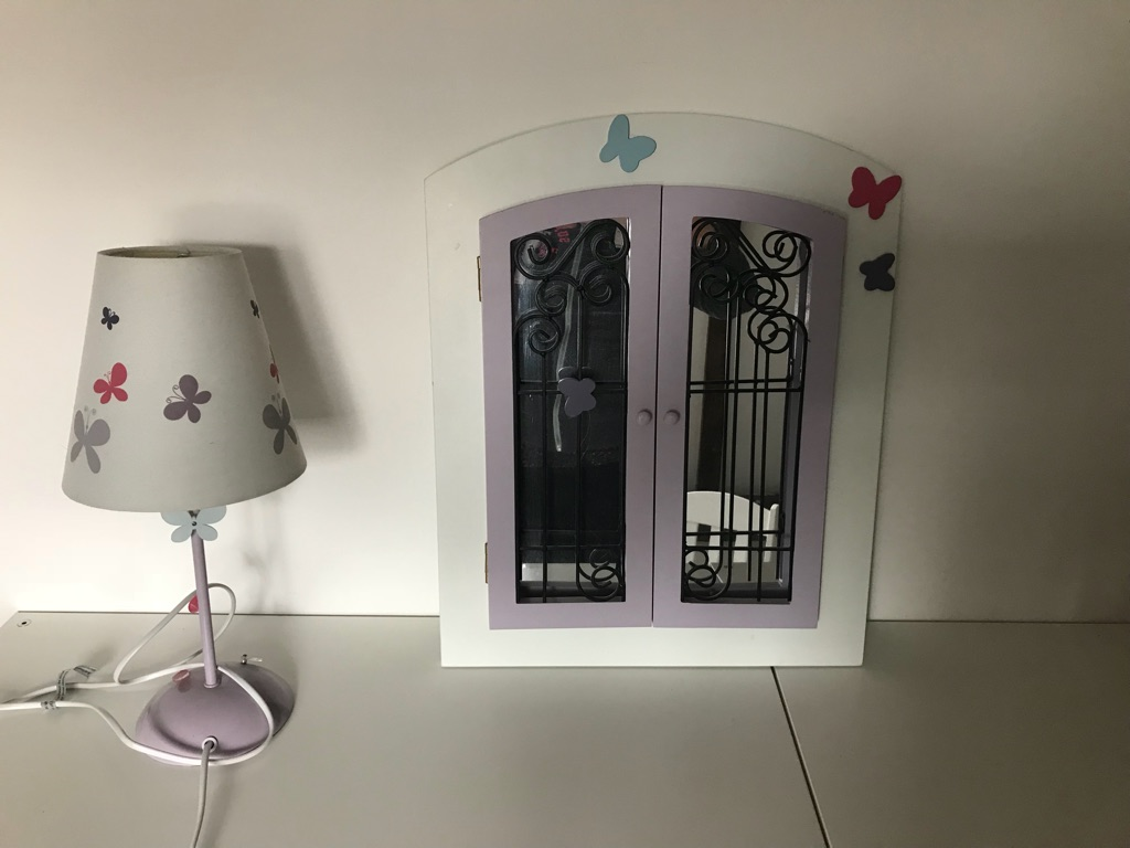 Girls bedroom mirror, matching lamp and two small rocking chairs