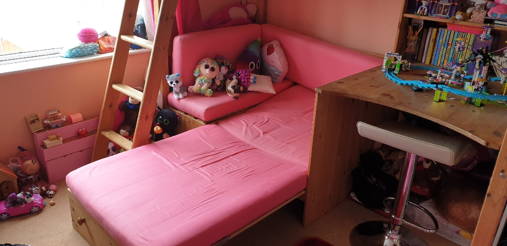 High rise girls bed with futon - Bunkbed