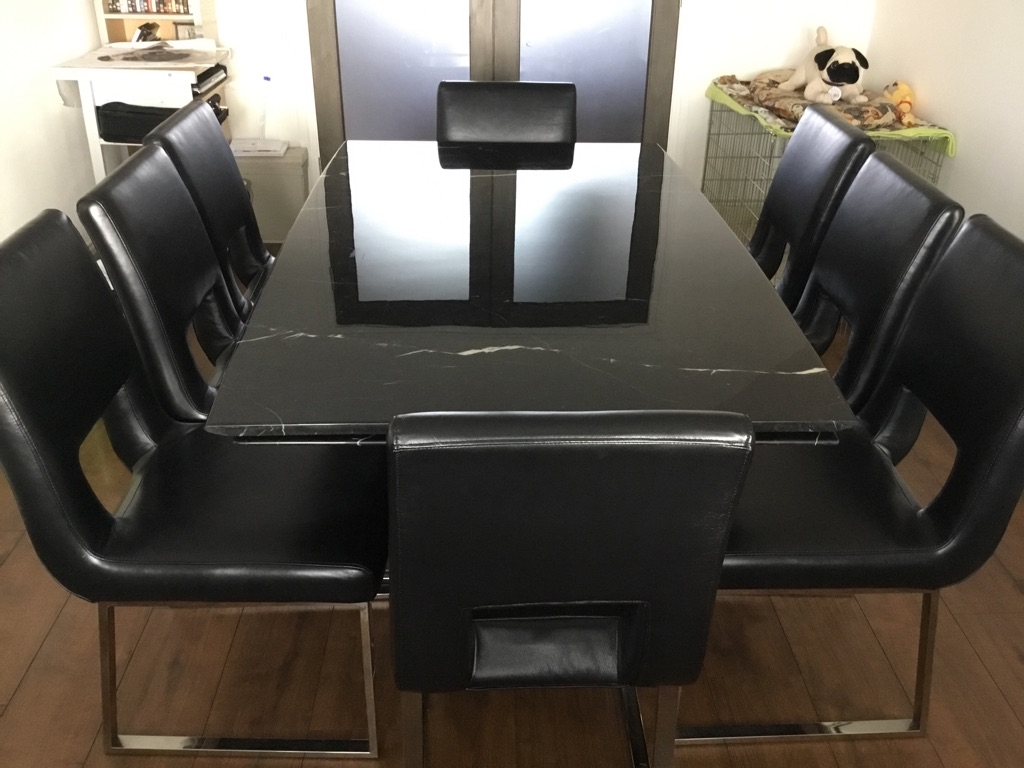 Marble extending table with 8 chairs