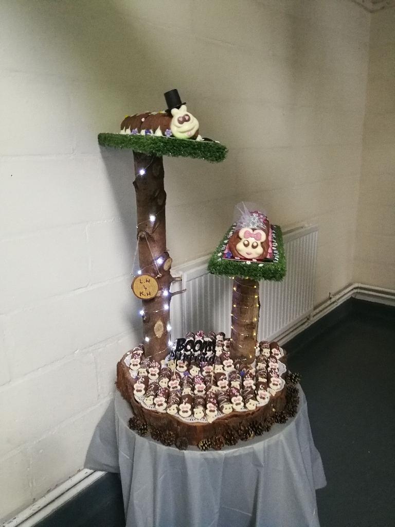 Wedding cake stand, caterpillar cake