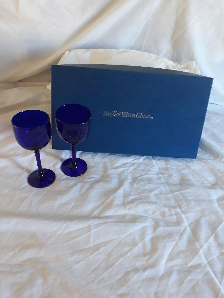 Bristol blue wine goblets