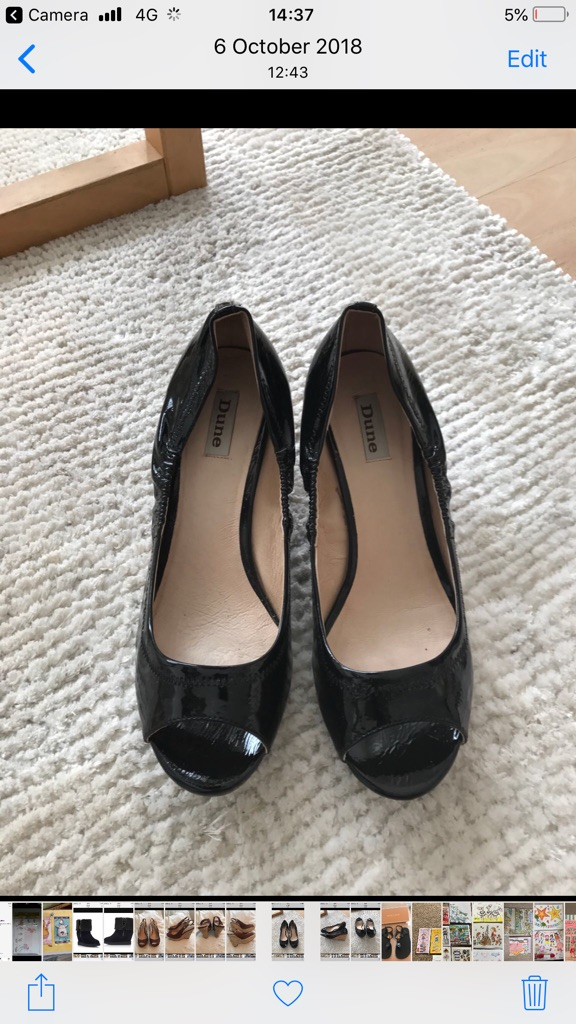 Ladies Dune black patent shoes Size 8