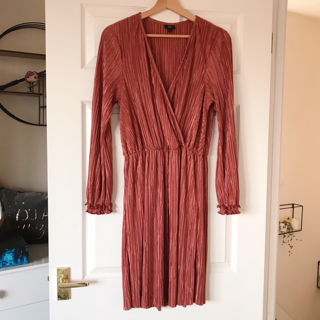 River Island Dusty Pink Pleated Wrap Over Dress
