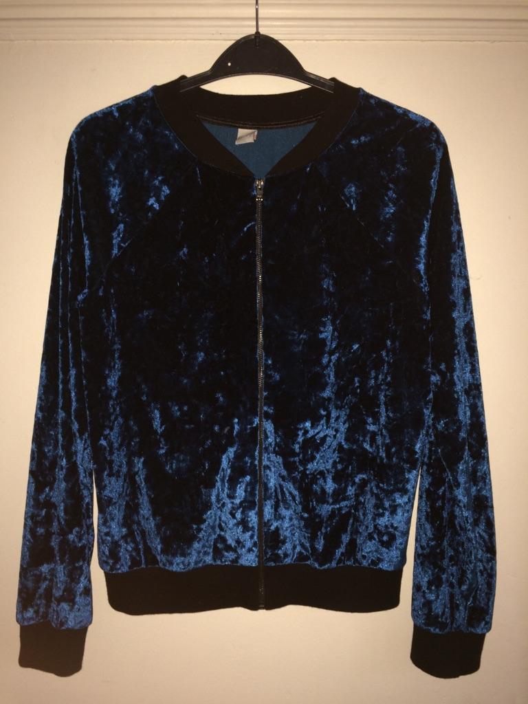 Girls petrol blue velvet jacket