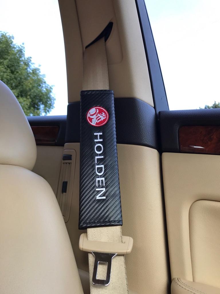 2X Seat Belt Pads Carbon Gift Holden HSV Z SS VF Commodore VE VXR8 R8