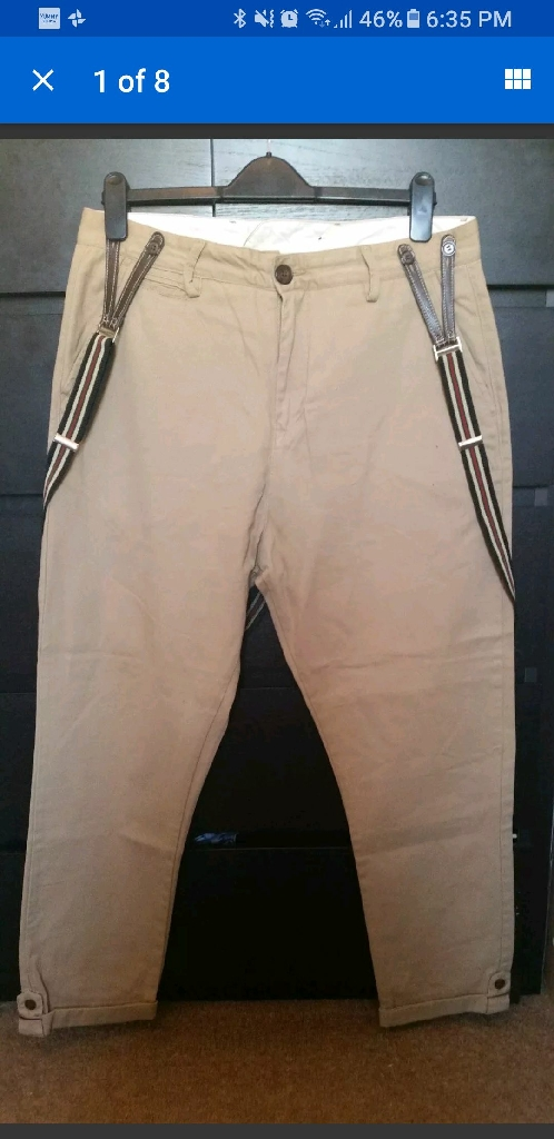 CRIMINAL DAMAGE TAN RELAXED CHINOS WITH DETACHABLE BRACESSIZE:34/32