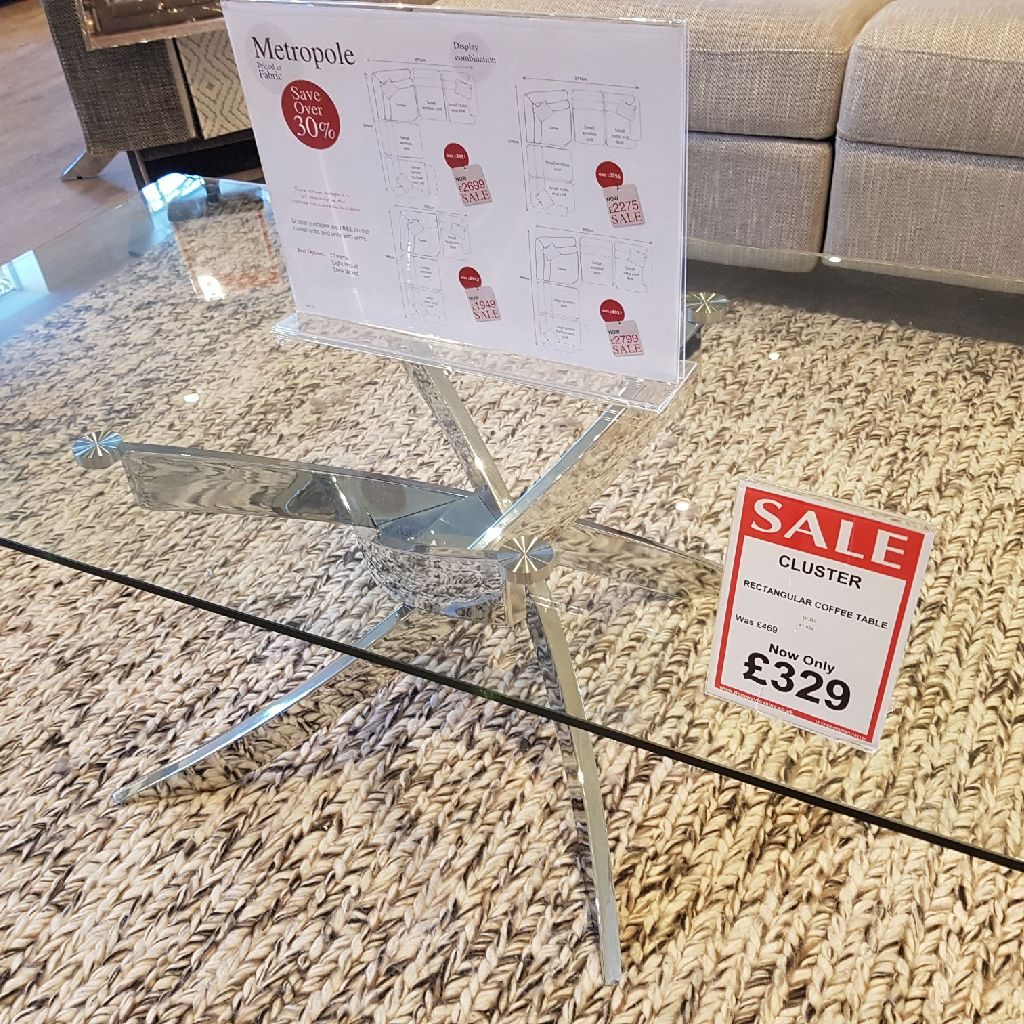 Trojillo glass and chrome coffee table