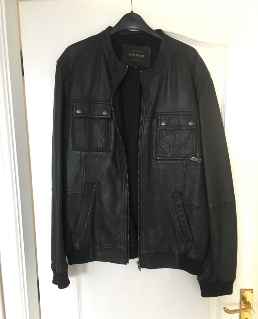 Men's River Island leather jacket size large