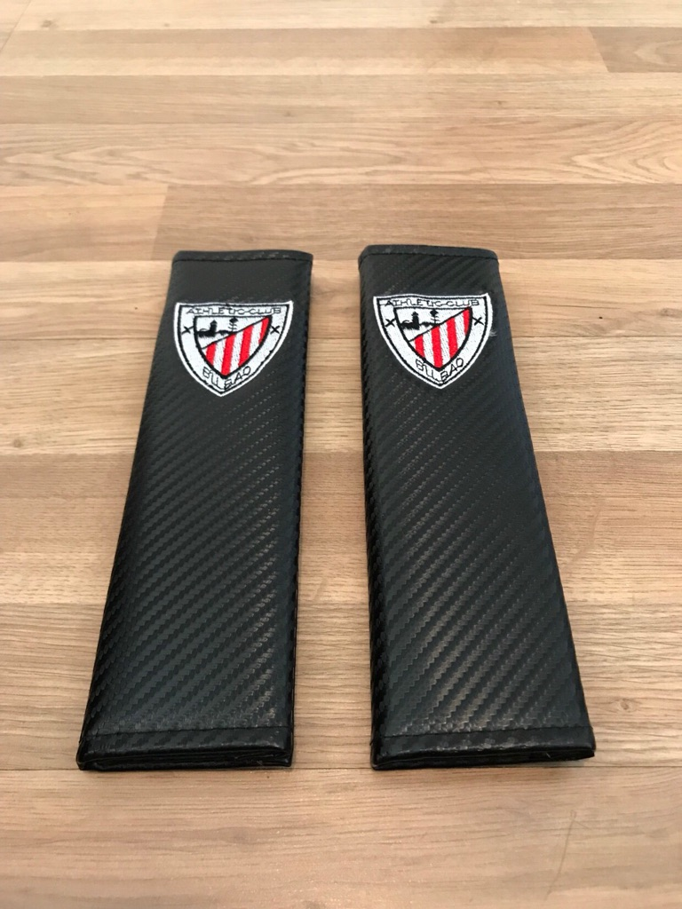 2X Seat Belt Pads Carbon Gift Spain Athletic Bilbao Football Team Cup Stadium
