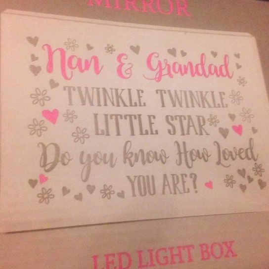 Light up brand new nan and grandad mirrored box plaque