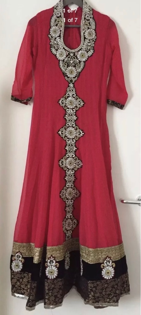 Brand New Indian Wedding Red Anarkali Churidar Dress - Size Small