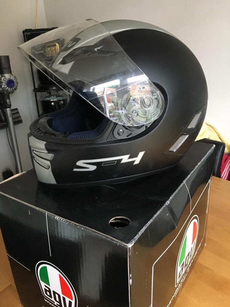 AGV S4 Matt Black/Silver XL Motorcycle Helmet + spare visor