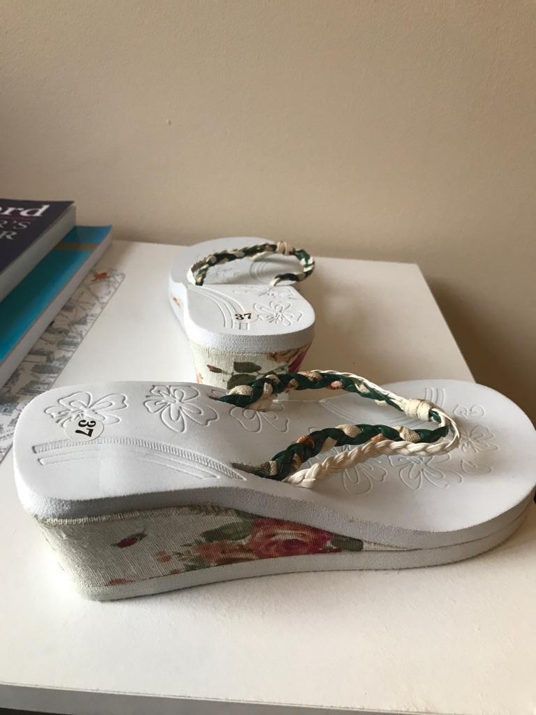 Female summertime heel sandals