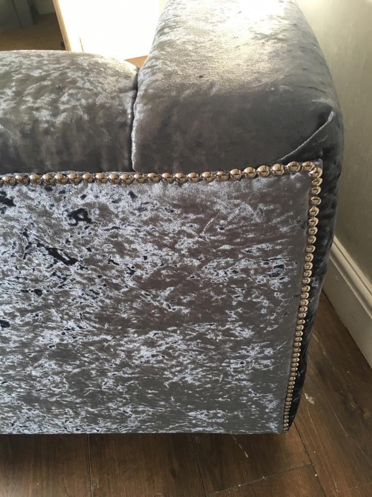 Slate grey crushed velvet silver beaded sofa