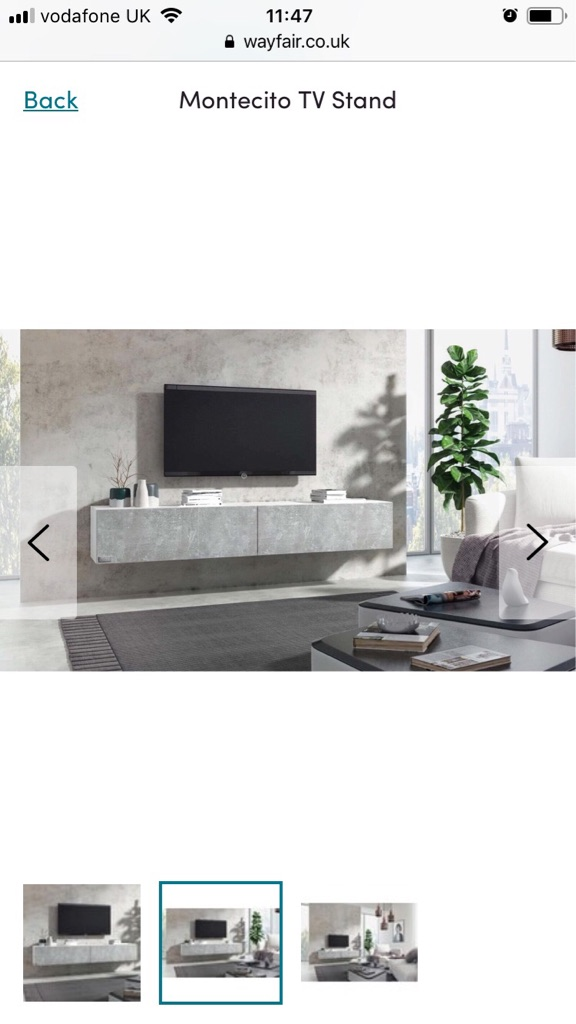 Wall mounted grey tv unit