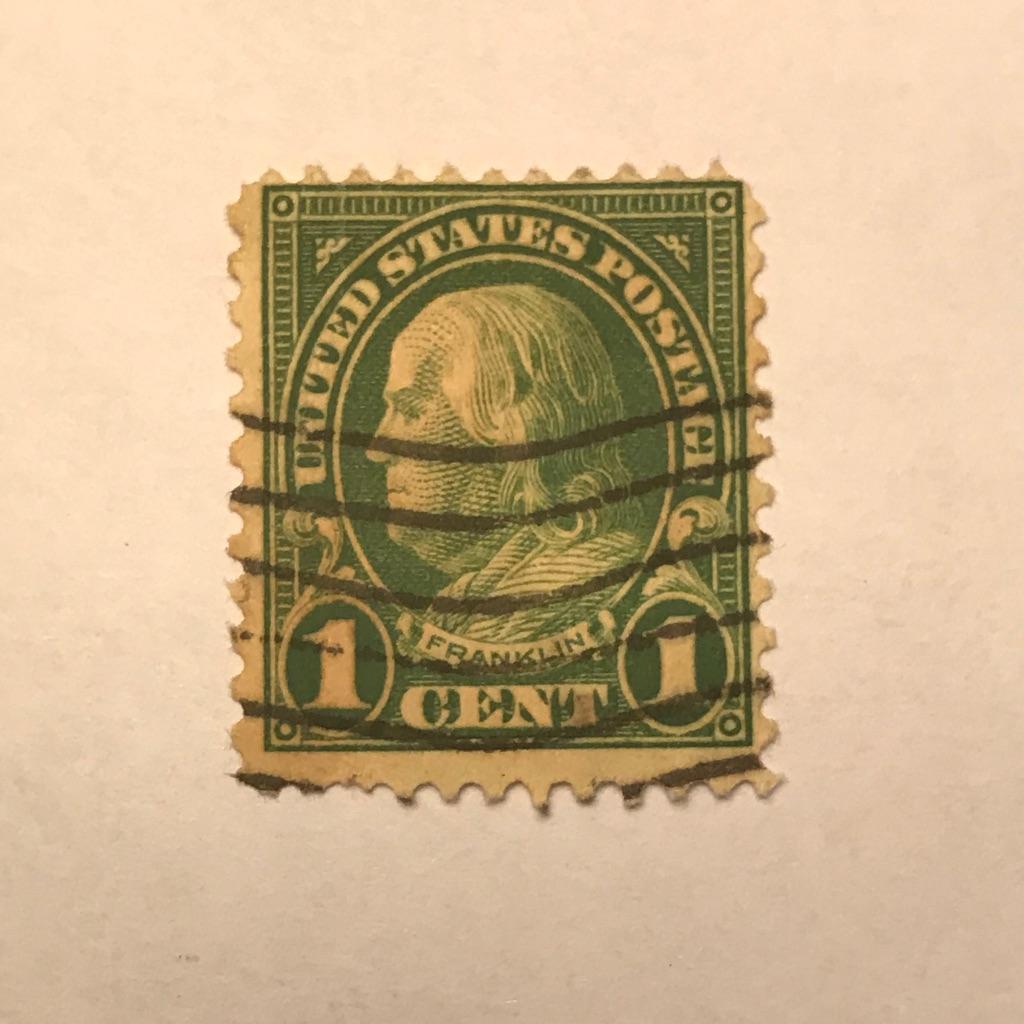 RARE 1 Cent Green Benjamin Franklin STAMP