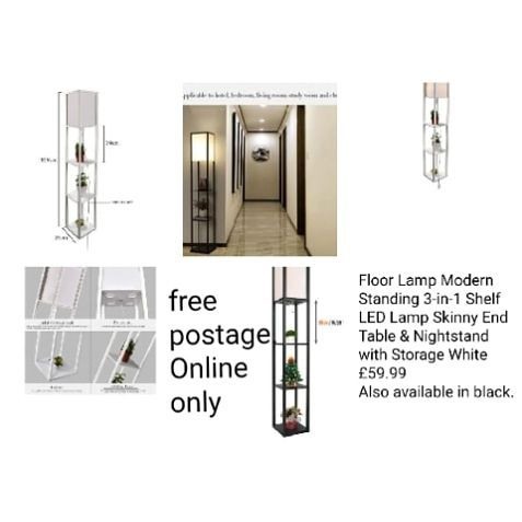 Floor Lamp Modern Standing 3-in-1 Shelf LED Lamp Skinny End Table & Nightstand with Storage White