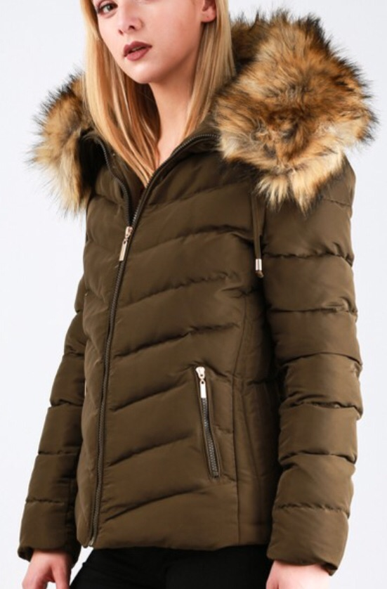 Khaki women's winter coat