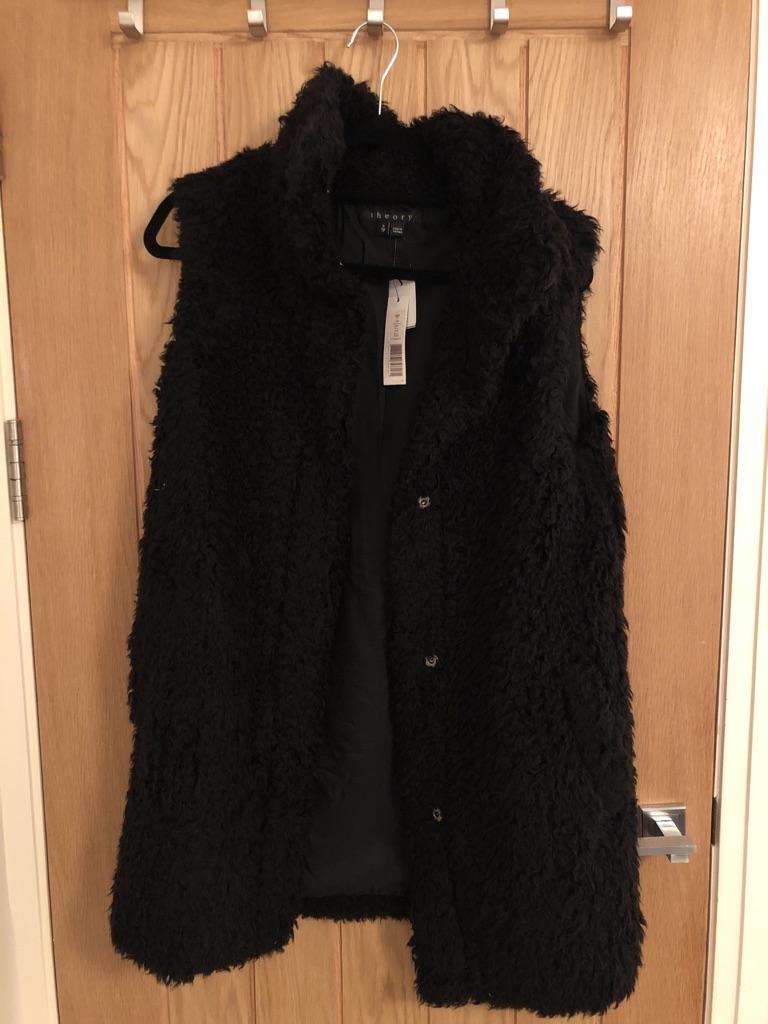 Theory Black Faux Fur Vest