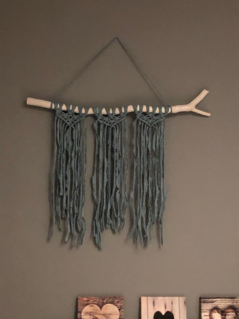 Large Macrame with fabric yarn blue