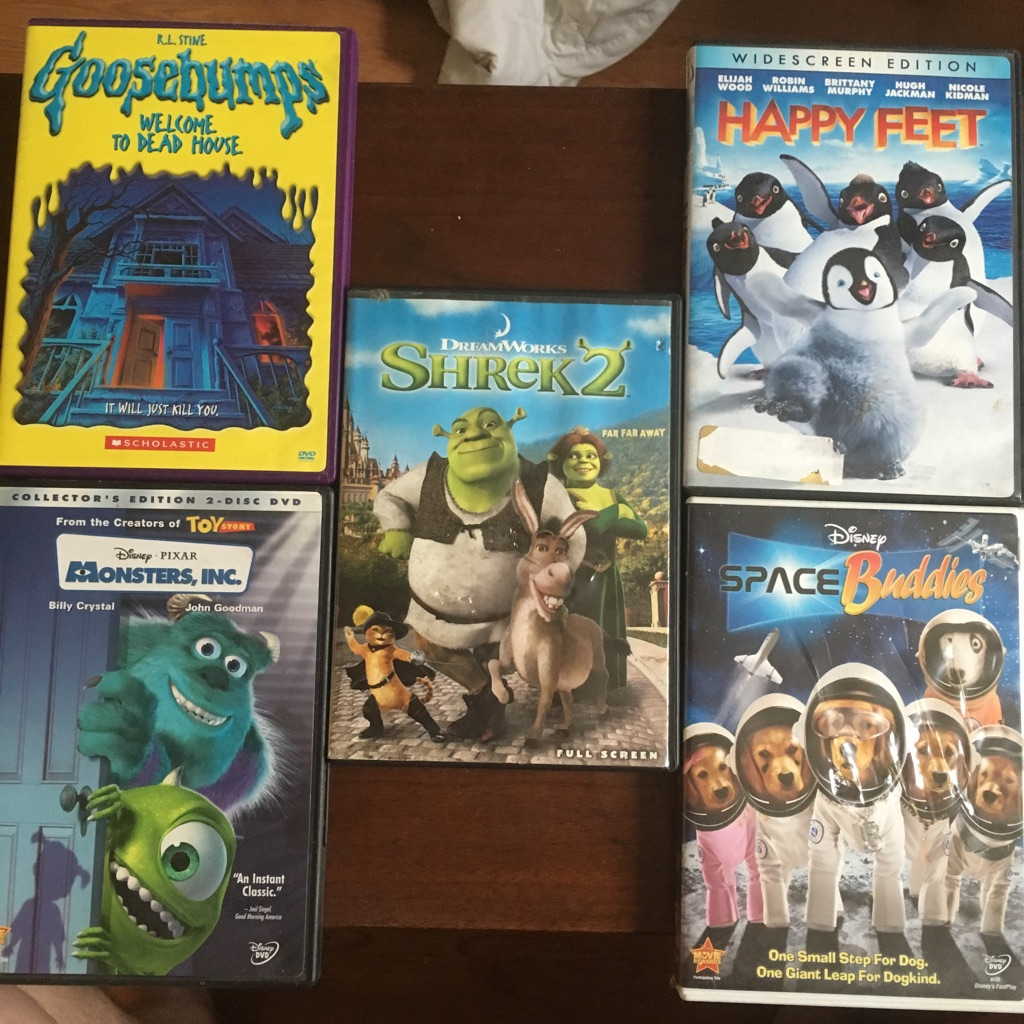 Kids movies $5 each or $25 for all no holds first come with cash gets the item no holds