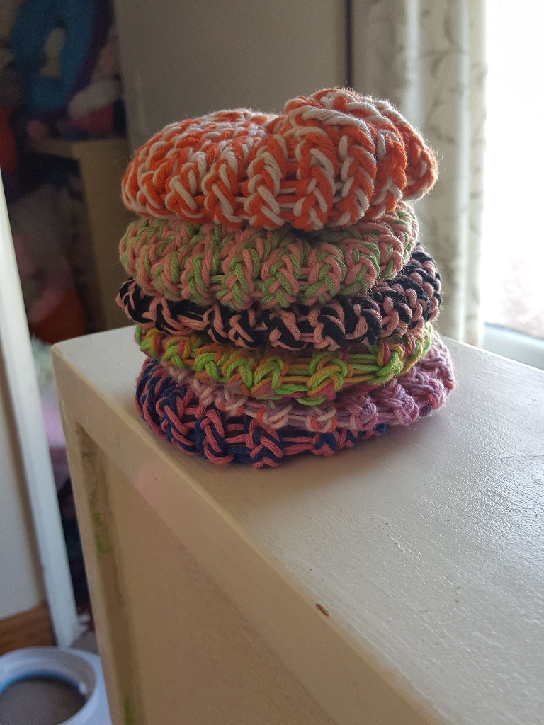 Handmade scrubbies and soap sack set