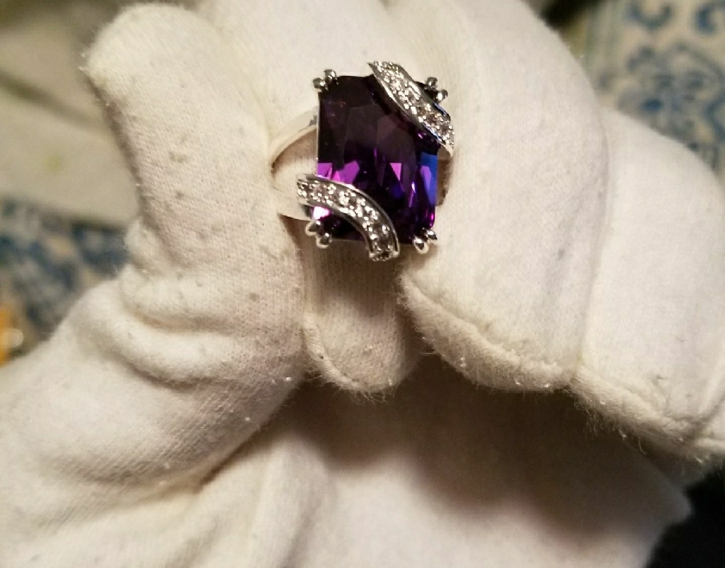 Simulated amethyst and CZ ring size 10