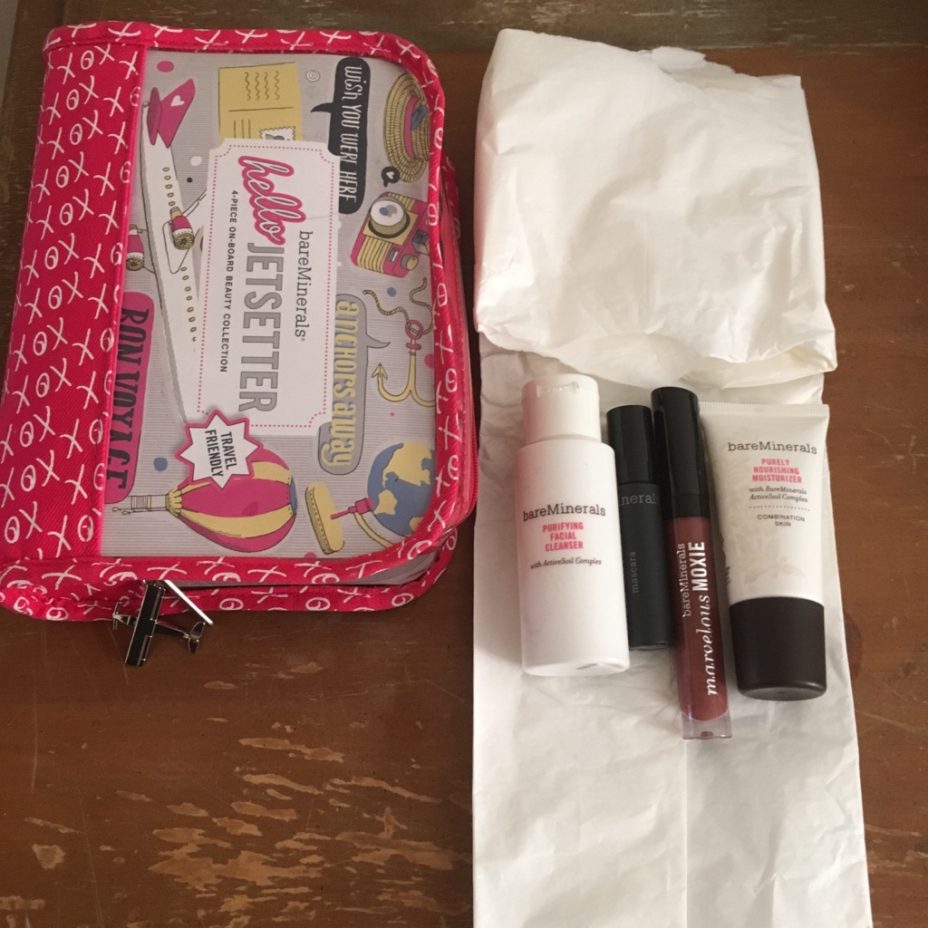 $50 OBO  **Brand NEW** Bare Minerals 4 pc Beauty Collection Jetsetter  Includes: Mini Purifying Facial Cleanser Mini Purely Nourishing Moisturizer Mini Flawless Definition Mascara (black) Marvelous Moxie Lipgloss (Maverick)