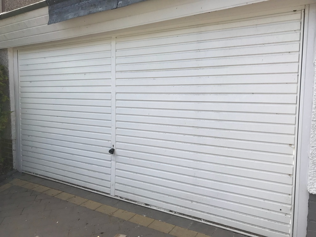 Double garage door. White