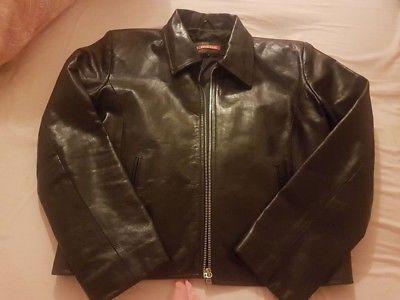 Ladies Black leather box jacket size L