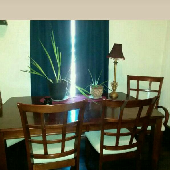 Solid cherry dining room table and chairs with leaf