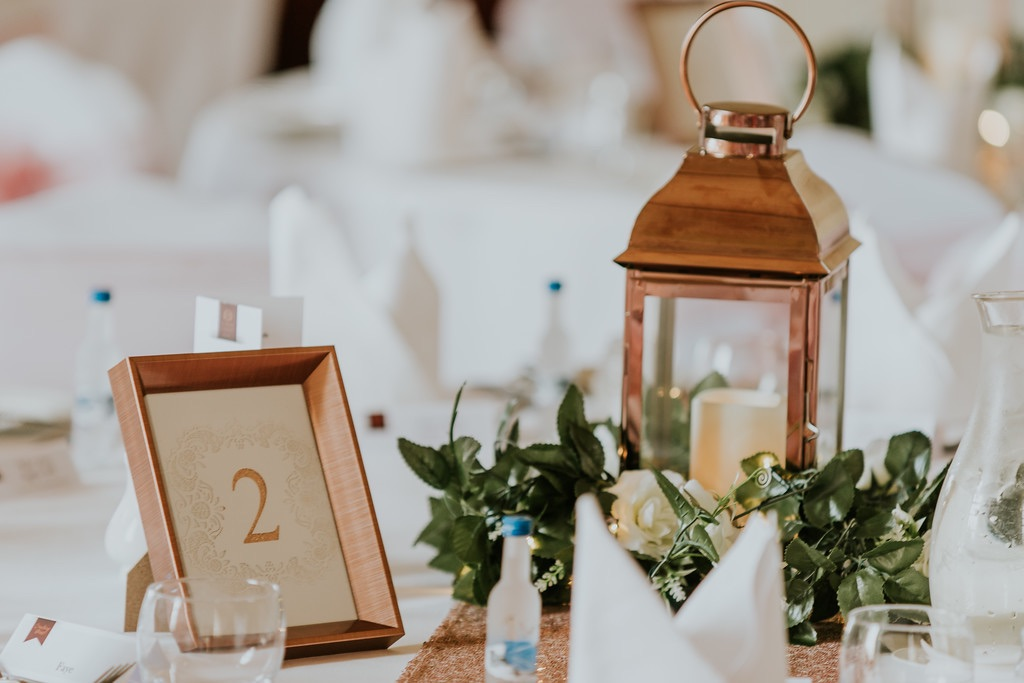 Copper lanterns with candles