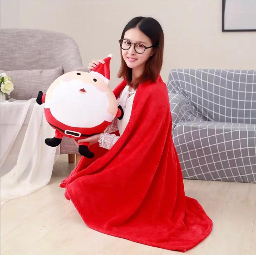 3 In 1 Pillow Blanket Santa Claus Pillow Blanket | Hand Warmer Cushion