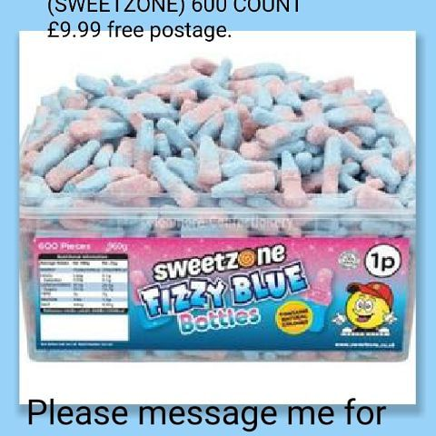 💥FIZZY BLUE BOTTLES (SWEETZONE) 600 COUNT 💥£9.99 🚚free postage.