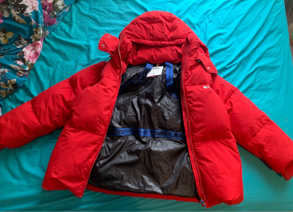 Tommy Jeans Red Over sized Puffa Jacket