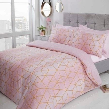 Blush pink and grey geometric bedding